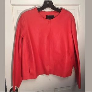 Longchamp red lamb leather jacket blazer M